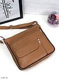 Черная женская кожаная сумка кросс-боди сумочка почтальонка квадратная натуральная кожа, фото 9