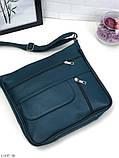 Черная женская кожаная сумка кросс-боди сумочка почтальонка квадратная натуральная кожа, фото 10