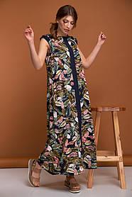Макси платье из вискозы сарафан синее в цветы с рюшкамина плечах из вискозы, размер от 42 до 50