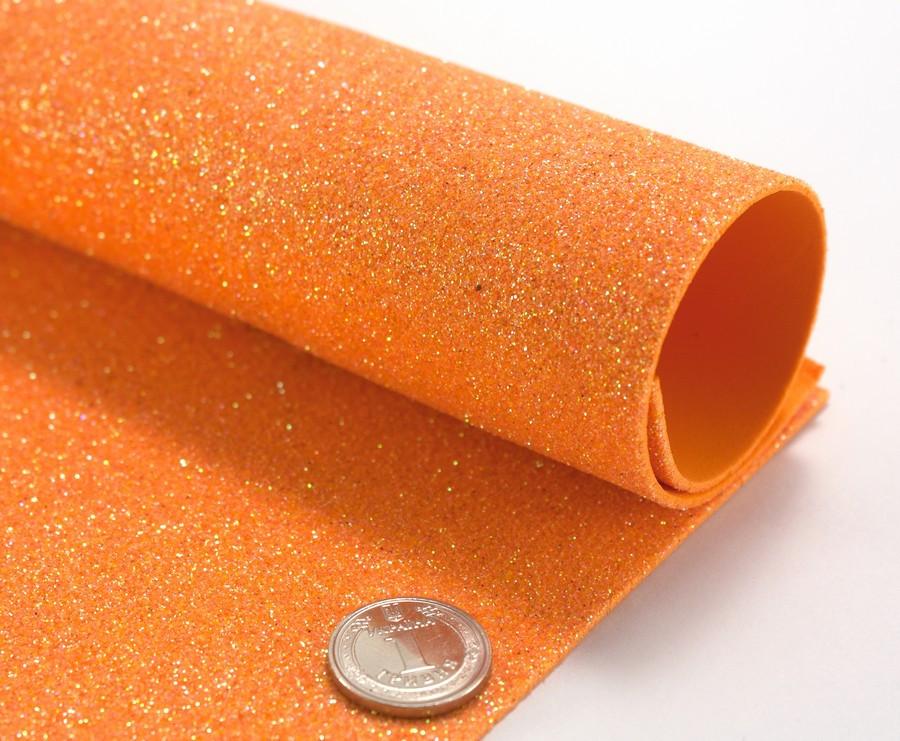 Фоамиран с глиттером 1,6 мм, без клеевой основы 30х20см, Оранжевый
