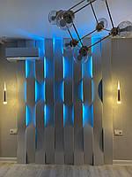 3Д панели из гипса с подсветкой LED Wave