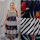 Женское летнее платье для полных женщин большого  размера: 50,52,54,56,58, фото 2