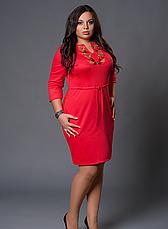 Платье вышиванка коралловое большой размер, фото 2