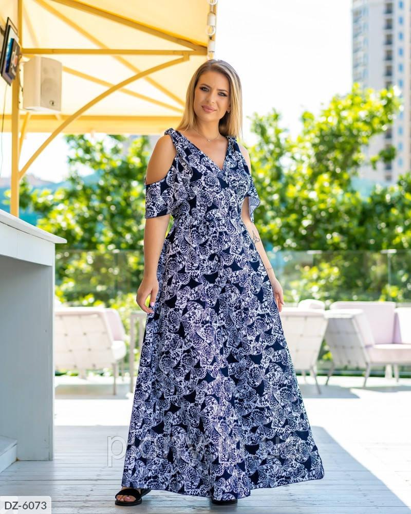 Женское Платье в пол на запах Батал