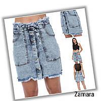 Юбка джинсовая для девушек стрейчевая варенка со сьемным голосом размеры 25-28, голубого цвета