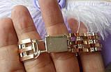 Браслет мужской серебряный с накладками золота длина 20 см (21,5 см), фото 6
