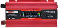 Инвертор авто преобразователь напряжения UKC KC-1000D c LCD экраном и USB 12V в 220V
