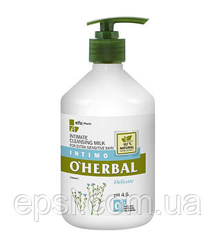 Очищающее молочко для интимной гигиены O Herbal для чувствительной кожи с льном, 500 мл