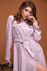 Макси платье рубашка из вискозы пудровго цвета размер от 42 до 50