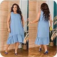 Женское летнее платье свободного кроя Лен Размер 48 50 52 54 56 58 60 62 64 Разные цвета