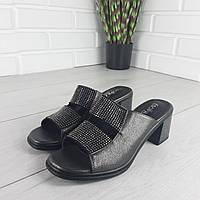 Босоножки женские на каблуке, сандалии летние . Босоножки черные из эко кожи и страз