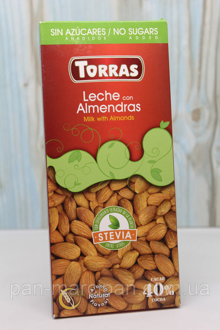 Шоколад Torras 125 г молочний з мигдалем
