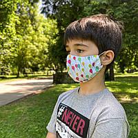 Маска детская защитная многоразовая тканевая многослойная фильтр  (Есть СЕРТИФИКАЦИЯ 2020 года), фото 1