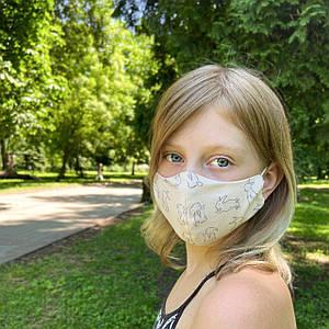 Маска детская защитная многоразовая тканевая многослойная фильтр  (Сертифицированая)