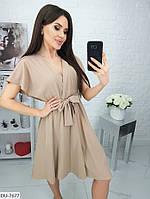 Легкое женское платье на лето с запахом на груди и расклешенной юбкой арт 006