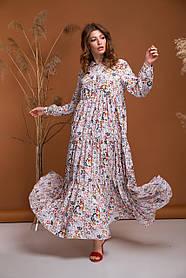 Милое белое платье макси летящее легкое очень красивое из вискозы от 42 до 50