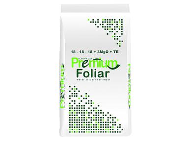 Удобрение водорастворимое Premium Foliar 18-18-18 + 3MgO+TE - 25 кг для внекорневой подкормки