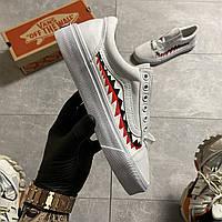 Мужские кеды Vans Old Skool White ART Teeth (Белый)