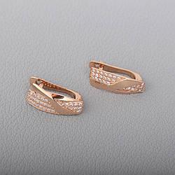 Золоті сережки з фіанітами. СП415