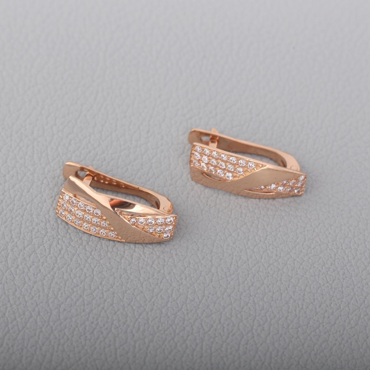 Золотые серьги с фианитами. СП415