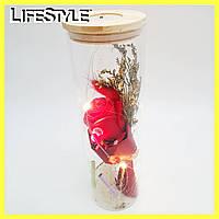 Роза в тубусе-цилиндре с LED подсветкой (большая) / Цветок в колбе