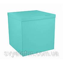 Коробка-сюрприз для воздушных шаров бирюзовая без надписей