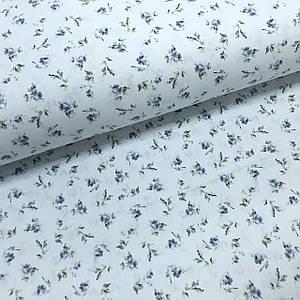 Ткань поплин нарисованные цветы голубые на светло-голубом (ТУРЦИЯ шир. 2,4 м)