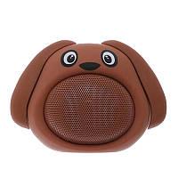 Детская музыкальная портативная колонка с блютуз собака: bluetooth 4.2, 3 Вт, микрофон, коричневая