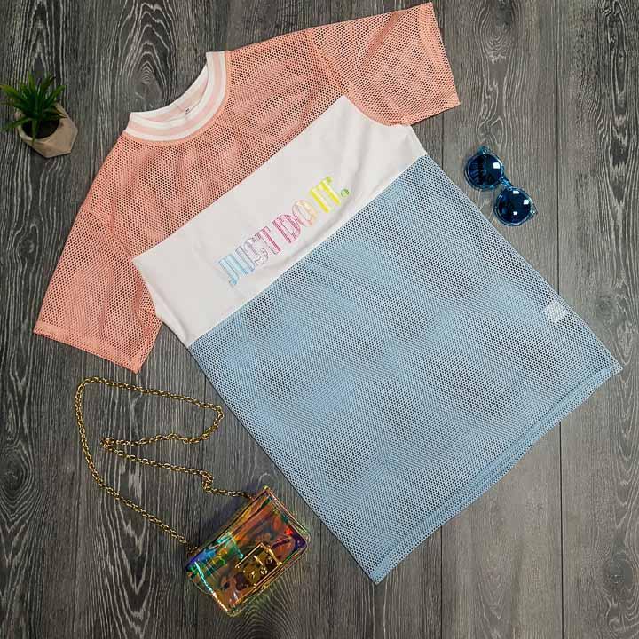 Яркая модная прикольная футболка в сеточку необычная Футболка сеточка Just do it розовая с голубым 2020