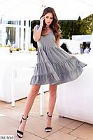 Модное короткое женское платье свободного кроя с завышенной талией арт 8036