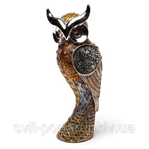 """Сувенир сова """"Мудрость"""" коричневая с напылением LHS1140"""
