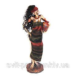 Африканская статуэтка женщины с роскошной причёской S90002