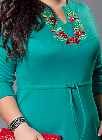 Платье вышиванка зеленое большой размер, фото 2