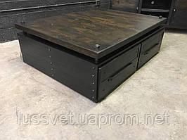 Кофейный столик с выдвижными ящиками в стиле Industrial