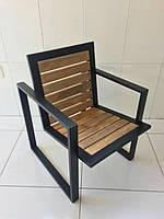 Лофт-кресло металлическое с деревом
