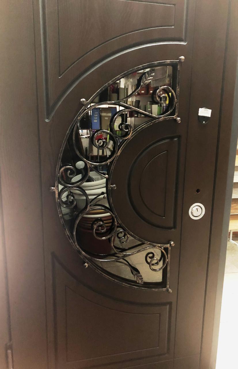 Двері Оптима 950 L Ковка №10 Полімер віскі/ПВХ-02 KALE 16/16мм.