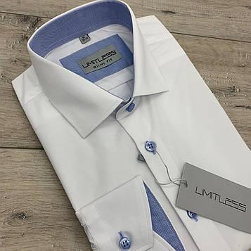 Рубашка мужская белая с голубой отделкой. LIMITLESS