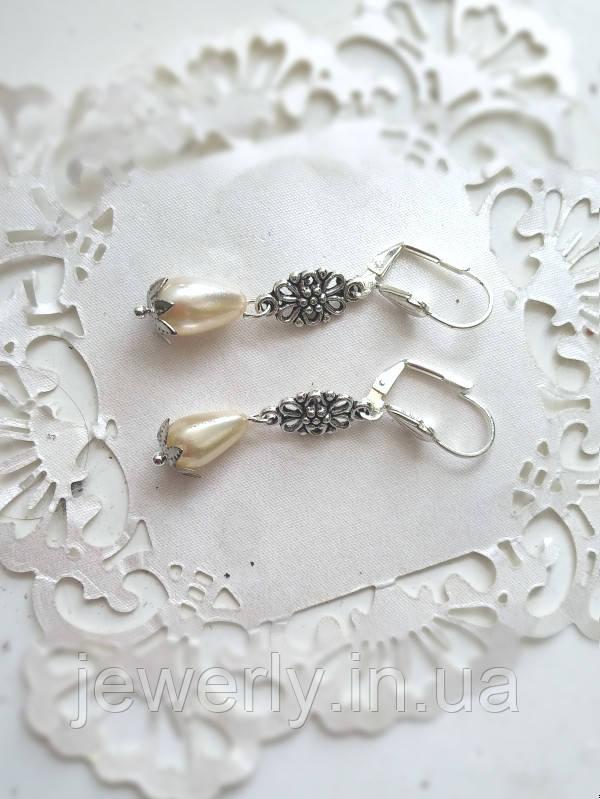 Свадебные серьги с жемчугом
