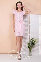 Женское летнее платье стрейч-коттон розовый горох джинс горох голубой горох S M  L