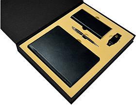 """Подарочный набор аксессуаров """"Премиум"""": ежедневник, металлическая ручка, power bank xiaomi, flash-карта Черный"""