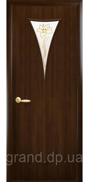 Межкомнатная дверь  Бора Экошпон с матовым стеклом и рисунком, цвет орех 3D