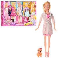 Кукла с нарядом LH201575, 29см, собачка, платья 3шт, обувь, торт