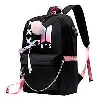 Рюкзак BTS с розовым помпоном цвет черный