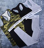 Леггинсы женское Calvin Klein, набор 2 шт. Топ и лосины. Материал: 93% хлопок, 7% эластан. Код KH-1204 L