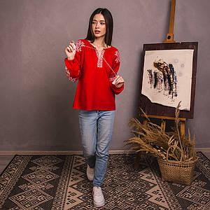 Женская блуза Древо Жизни на красном льне