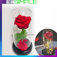 Роза в колбе с LED подсветкой БОЛЬШАЯ / Цветы в колбе