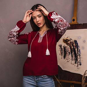 Женская блуза Древо Жизни на бордовом льне
