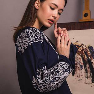 Женская блуза Древо Жизни на синем льне