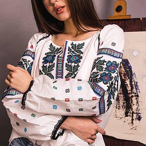 Жіноча блуза Борщівка на білої бязі