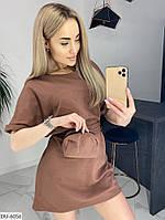 Стильное короткое спортивное летнее женское платье с сумкой в комплекте арт 170